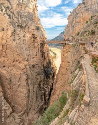Photo  Bridge in gorge of the Gaitanes in el Caminito del Rey (The King's Little Path)