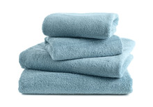 Stack Of Clean Soft Towels On White Background