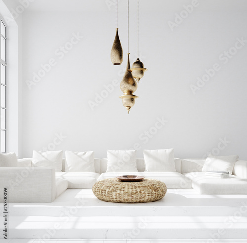 Foto auf AluDibond Boho-Stil Light and spacious bohemian living room, Scandi–Boho style, 3d render