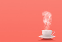 A Cup Of Coffee On The Living Coral Background