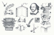 Literature hand drawn vector set. Inkwell, writing tools, pens, books, ancient manuscripts, typewriter, antique column. Engraving style