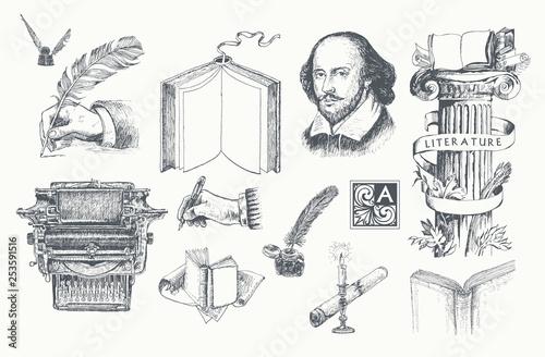 Canvas Print Literature hand drawn vector set