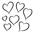 Set of outline hand drawn heart icon.Vector heart collection. Illustration for your graphic design.