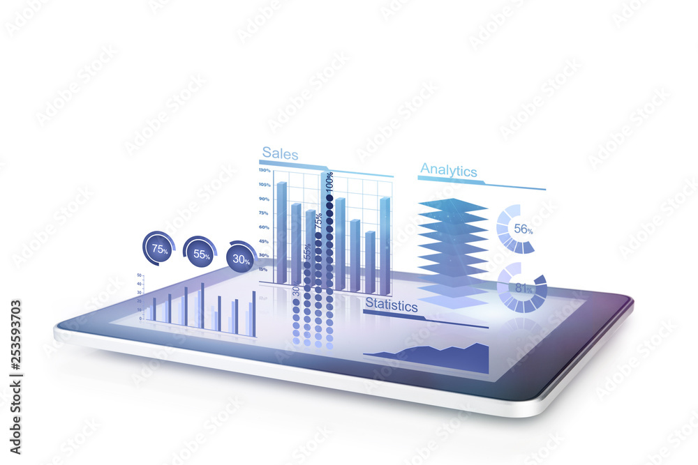 Fototapety, obrazy: Diagrams concept with tablet 3d illustration