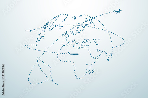 Fotografia Airplane line path with map
