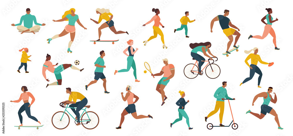 Fototapety, obrazy: Group of people performing sports activities at park doing yoga and gymnastics exercises, jogging, riding bicycles, playing ball game and tennis.