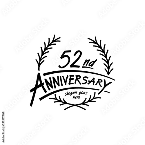 Photo  52 years design template. Vector and illustration. 52 years logo.