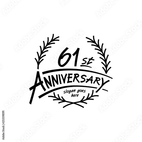 Photo  61 years design template. Vector and illustration. 61 years logo.