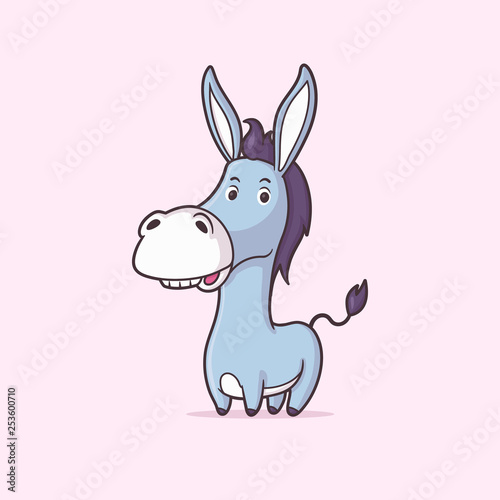 Fotografia Funny cute donkey vector cartoon illustration