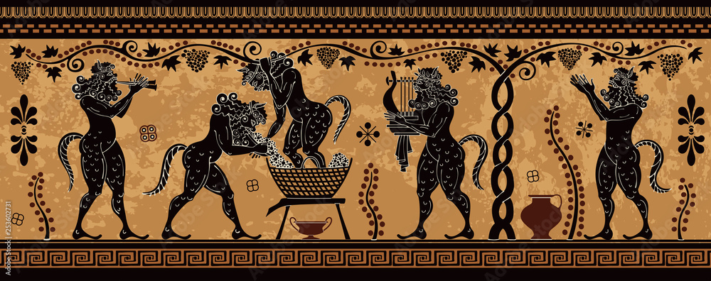 Fototapeta Ancient greek painting.Pottery art.Stylized ancient greek background. Mediterranean culture.Deities and heros of antique greece.
