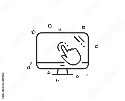 Touch screen line icon  Online quiz test sign  Geometric shapes