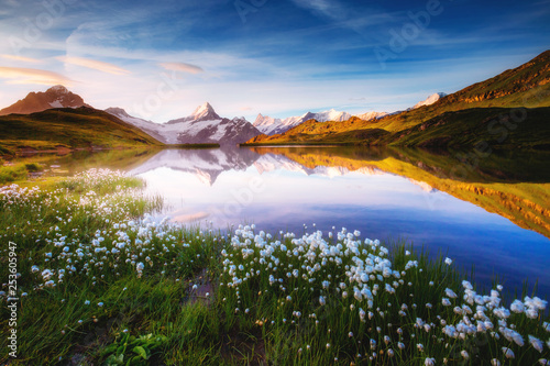 Captivating scene of the snow rocky massif. Location place Bachalpsee in Swiss alps.