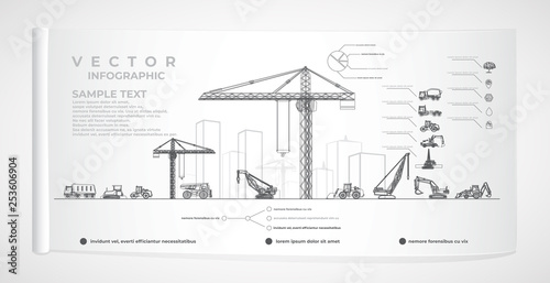 Obraz Vector construction equipment and city infographics. - fototapety do salonu