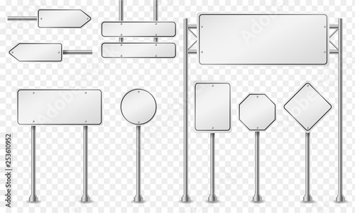 Set of white (light gray) road signs