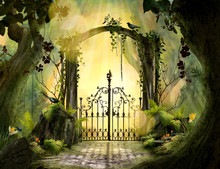 Archway In An Enchanted Garden Landscape With Big Old Trees