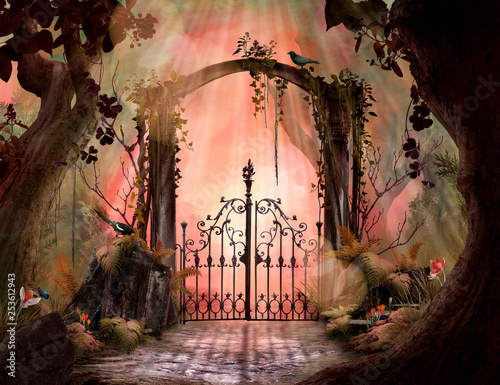 archway-in-an-enchanted-garden-landscape-with-big-old-trees