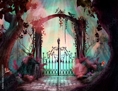 Stampa su Tela Archway in an enchanted fairy garden Landscape