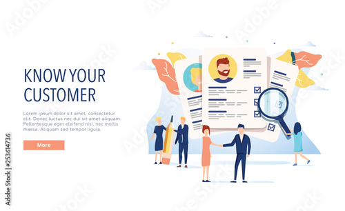 Obraz KYC, know your customer vector website template, web page and landing page design for website and mobile site. - fototapety do salonu