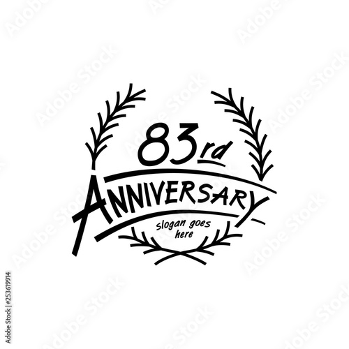 Fotografia  83 years design template. Vector and illustration. 83 years logo.