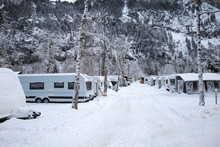 Winter Camping With Caravan. C...