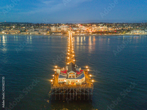 aerial view of pier and restaurant Canvas Print