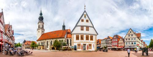 Marktplatz Panorama von Celle, Deutschland Billede på lærred