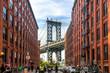 Blick auf die Manhattan Bridge von Dumbo aus, New York City, USA