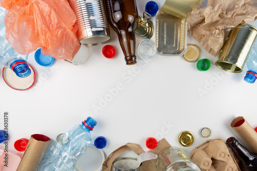 Fototapeta  Plastic, glass, metal and paper garbage for recycling concept reuse and recycle
