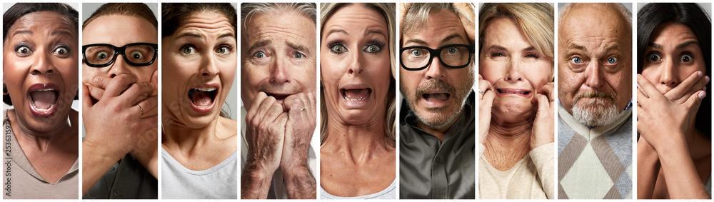 Valokuva Scared fearful stressed people