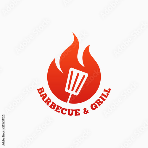 Photo Barbecue and grill logo. BBQ fire flame on white