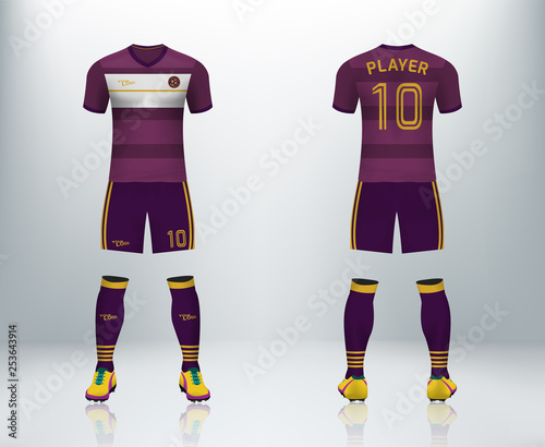 40d4dc148add 3D realistic mock up of front and back of maroon soccer jersey t-shirt with  pants and socks. Concept for football team uniform or apparel mockup  template in ...