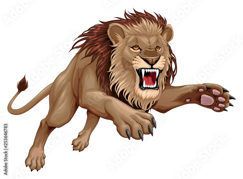 Door stickers kids room Angry lion is jumping