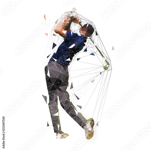 Foto Golf player, low polygonal golfer vector isolated illustration