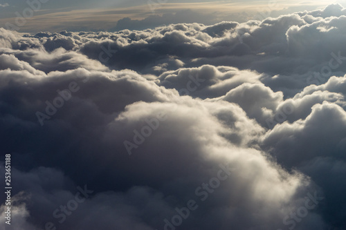 Widok z nieba, chmura, grupa chmur na niebie