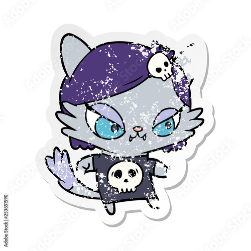 distressed sticker of a cartoon tough cat girl - Buy this