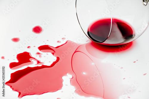 Fotografering  Spilled red wine. Bordeaux, merlot, cabernet