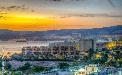 Fotomural Sunset view of Aqaba gulf in Jordan