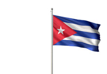 Cuba Flag Waving Isolated Whit...