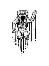 Astronaut Tropfen Schmelzen Farbe Graffiti Winkender Weltall Kosmonaut Raumfahrer Raumschiff Rakete Science Fiction Weltraumfahrer Forscher Fliegen Schweben Schwerelos Raumanzug Zukunft