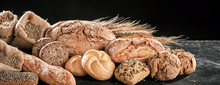 Banner With Freshly Baked Bread Loaves