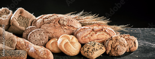 Fotografie, Obraz  Banner with freshly baked bread loaves