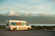 It is a photograph of a camping van taken in Kaikoura, New Zealand.