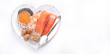 Sources Of Omega 3 In Heart Shape Plate