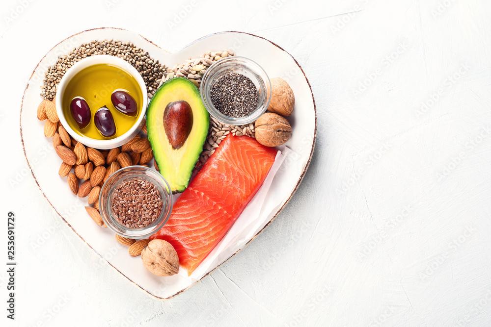 Fototapeta Selection of healthy fat sources
