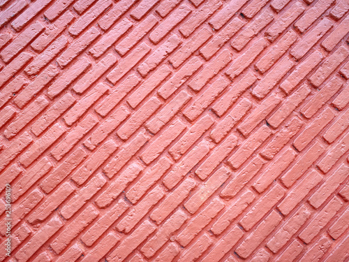 Photo Textured of Oblique Line Red Brick Wall