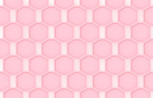 3d Rendering. Seamless Modern Sweet Pink Octagonal Shape Pattern Design Wall Background.