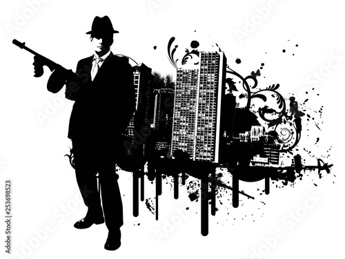 Fotografie, Tablou  Mafia boss with machine gun stands in front of skyline of a city with design ele