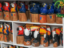 Carved Wooden Toucans And Macaws In Rio De Janeiro