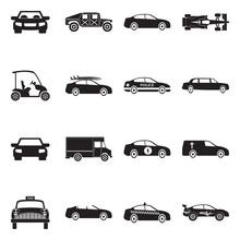 Car Icons. Black Flat Design. ...