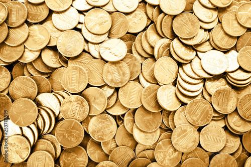 Fototapeta Many shiny USA one cent coins as background, top view obraz
